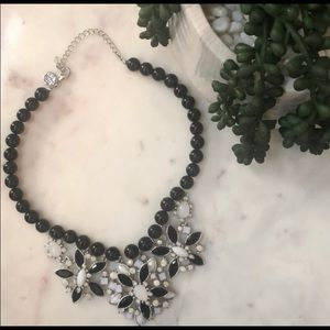 White House Black Market bib jeweled necklace b&w